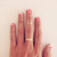 Slanted French + Dainty Rings <3