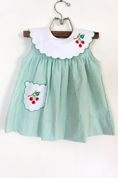 Vintage Baby 3Piece Cherry Dress Outfit by PeppermintandCocoa