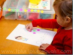 Dot Stickers {31 months} #totschool #tottrays #finemotorskills