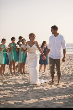 Family, guests, beach wedding