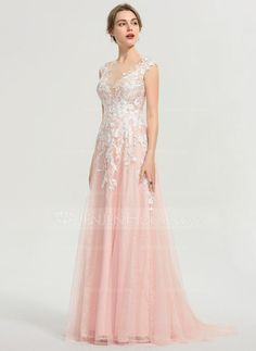 [US$ 178.00] A-Line Scoop Neck Sweep Train Tulle Prom Dresses (018192343)