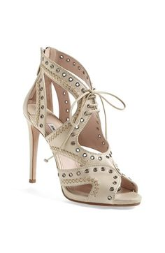 Miu Miu Caged Cutout Sandal available at #Nordstrom. Could be fun for a wedding style, cutout sandal, cage cutout, hot shoe, shoe envi