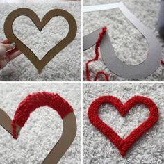valentine crafts, holiday, gift, yarns, glue gun, yarn projects, diy, valentine wreath