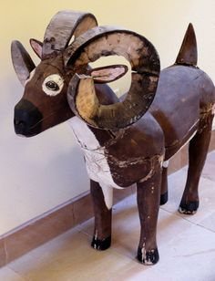 Mexican Ram New Mexican Folk Art Carving Attributed to Leroy Archuleta Tesuque