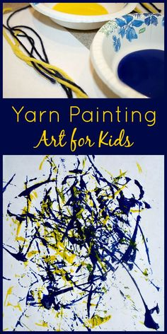 Pollock inspired art, or use marbles in paint | Yarn Painting Process Art for Kids