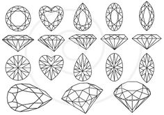 "This is ""Diamonds and gem stones jewels"" by Illustree. This file features lineart of gemstones in different cuts from different angles. Each gemstone features a radial pattern of its own, all created with just a few simple lines."