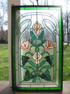 21x35 Tiffany Style Stained Glass Window Panel Green Clear Beveled Sold as Is | eBay