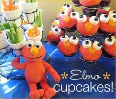 chocolate chips, cupcake stands, cupcakes, birthday parties, elmo cupcak, elmo party, kid parti, 2nd birthday, parti idea