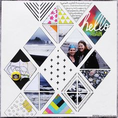 Hello Again by Ronda Palazzaris - Scrapbook.com- Templates can be used with photos, paints, ink and more to create a unique layout!