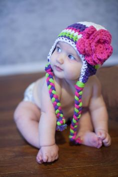 Crochet baby hat, baby hat, baby girl hat, crochet kids hat, hat with flower