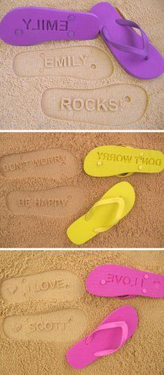 Personalized Sand Imprint Flip Flops ♥