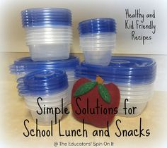 Simple Solutions for Healthy School Lunches and Afterschool Snacks including healthy and budget friendly recipes and ideas for kids to help create.  Here's a great opporunity to teach your children about food groups and healthy choices too!  ~ The Educators' Spin On It