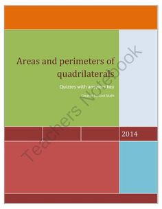 Areas and perimeters of quadrilaterals-Quizzes from Cool Math on TeachersNotebook.com -  (5 pages)  - Areas and perimeters of quadrilaterals-Quizzes