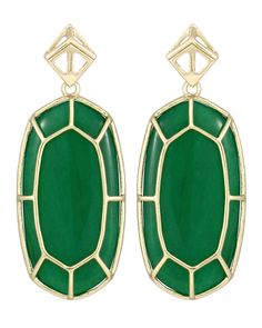 Della Earrings in Green #KendraScott