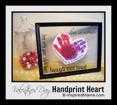 What's your favorite kids Valentine's craft?  A handprint craft is always a hit with mamas!  Here's a cute Handprint Heart perfect for Preschool kids at B-InspiredMama.com.
