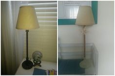 ***Lamp re-make.  A little jute cord, a star fish, some paint and sandpaper...new cute lamp! ~AS