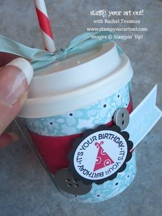Mini Coffee Cup decorated with Sweet Sorbet paper & A Fitting Occasion and Banner Greetings stamp sets…  Stampin' Up!® - Stamp Your Art Out!...