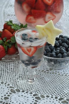 Fourth of July Spritzer recipe Strawberries, Blueberries, Apple,  Soda and Lemonade!