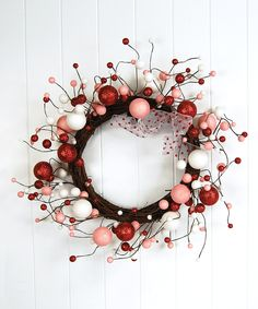 White & Pink Glitter Berry Wreath