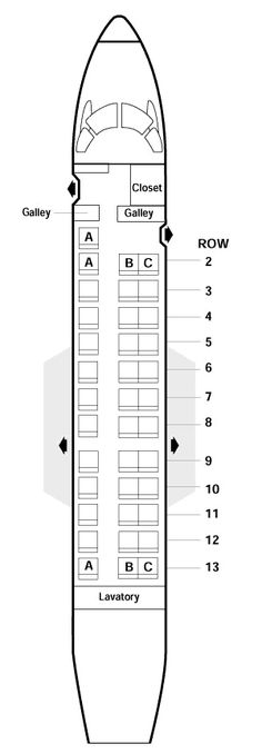 american airlines erj-135 seating map aircraft chart