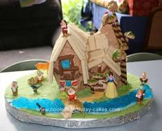 Homemade Snow White and the Seven Dwarfs Cottage Birthday Cake