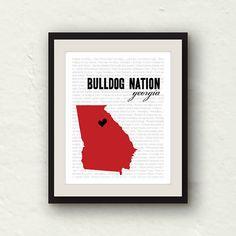 Clearance Sale Georgia Bulldog Bulldog by PaperFinchDesign