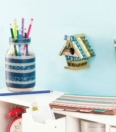 Get Organized with these DIY Washi Tape Crafts | Full Directions and Supplies available at Joann.com