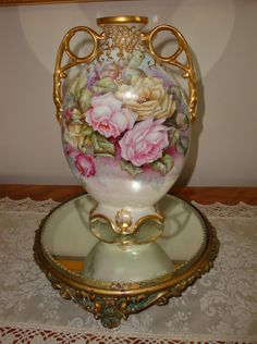 Limoges Antique Hand Painted Mantle Pillow Vase 19th Century Painting Gorgeous Roses Artist Signed