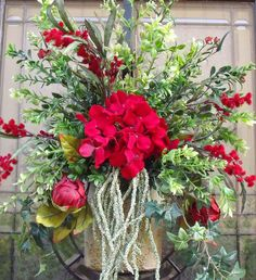 Wall Floral Arrangement Red Door Wreath