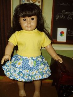 18 inch doll clothes fits American Girl Daisy Skirt Yellow Tee shirt