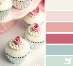 color palettes, design seeds, pearls, weddings, wedding cupcakes, wedding colors, little girl rooms, vintage roses, colour palettes