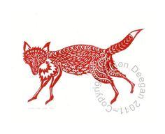 Original lino cut print Garden Fox in Red