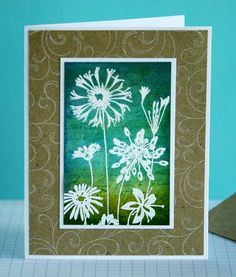 Hero Arts stamps:  • CH170 Wildflower Garden  • K5344 La Lettre  • CG119 Flourish Background    Inks:  • Distress Ink - Tumbled Glass, Stormy Sky, Crushed Olive  • Hero Hues Chalk Ink - Snow    Other: white embossing powder, kraft cardstock