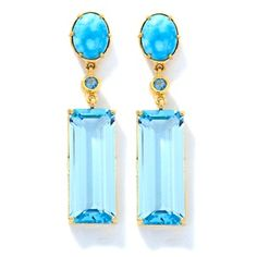 Rarities: Fine Jewelry with Carol Brodie Crown Spring Turquoise and Blue Topaz Vermeil Earrings