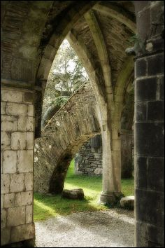 Some arches and doorway at the ruins of Margam Abbey, Wales
