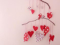 Kid's Craft: Valentine's Paper Heart Mobile valentine crafts, stick mobil, valentin paper, valentin craft, paper hearts, kid crafts, heart mobil