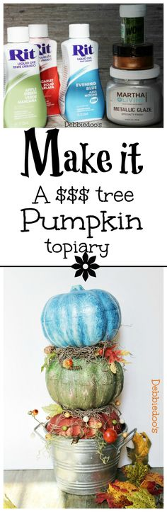 How to make a dollar tree pumpkin topiary and paint your pumpkins with rit dye. #debbiedoos