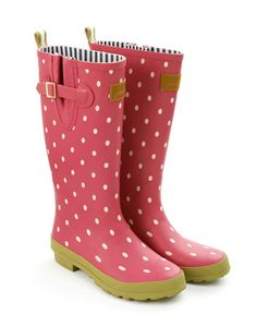 Joules WELLY PRINT Womens Rain Boot, Pink Spot.