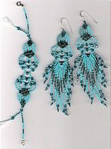 Beaded Filigree Bracelet and Earrings set pattern by Charlotte Holley - Beaded Legends by Chalaedra at Bead-Patterns.com