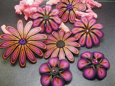 jewelry tutorials, color combos, polymer clay jewelry, cane, photo share, clay flowers, polym clay, clay idea, flower frenzi