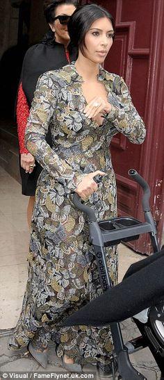 Kim Kardashian wearing Saint Laurent Paris Suede Pump Valentino Fall 2014 Custom Gown. Kim Kardashian Pre-Wedding Brunch in Paris May 23 2014.
