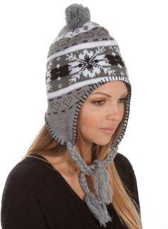 Sakkas Womens Pom Heart Snowflake Fully Lined Knit Winter Hat / Earflap Beanie - List price: $21.99 Price: $10.99 Saving: $11.00 (50%)