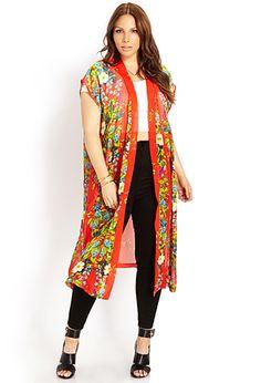 Tropical Floral Chiffon Kimono | FOREVER21 PLUS - 2000063882