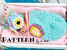 Owl Hat and Cocoon Set for Babies Crochet Pattern