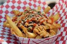 Kimchi fries from the Korean-Mexican fusion food truck, Chi'lantro, in Austin, Texas! Soo good they had an appearance on the Today Show! #sxsw #foodtruck french fries with kimchi, kimchi fri, magic, foods, deckedout tater, chilantro, barbecues, austin texas food trucks, food trucks austin