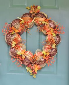 "28"" Fall Mesh Wreath"