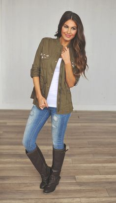 Olive jacket, brown boots, distressed jeans