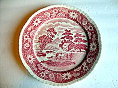 Plate, Pink Scene, Occupied Japan