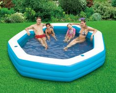 Large Inflatable Lounge Pool loung pool, pool parties, idea, living large, famili pool, live larg, lounges, larg loung, backyard
