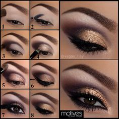 """1.) apply eye base w/ motives """"shadow"""" brush & draw in eyebrows w/ waterproof automatic eyebrow pencil """"dark brown"""" for @Laura Jayson Jayson Jayson Jayson Hunter 2.) draw a """"V"""" shape w/ """"onyx"""" pencil, to define where you are going to start the crease 3.) using #219 """"precision brush"""" blend upward with"""